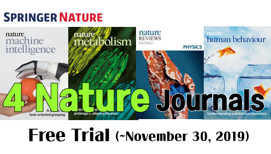 Trial Service: 4 Nature Research & Review Journals (3 New titles in 2019 and Nature Human Behaviour)